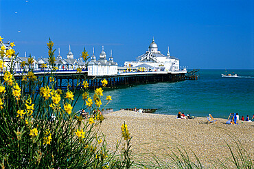 View over beach and pier, Eastbourne, East Sussex, England, United Kingdom, Europe