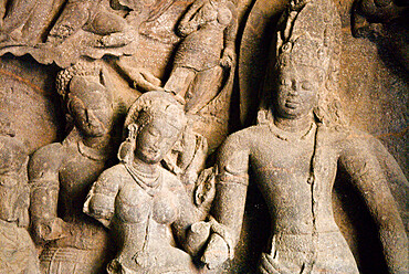 Cave Temple carving, Elephanta Island, UNESCO World Heritage Site, Mumbai (Bombay), Maharashtra, India