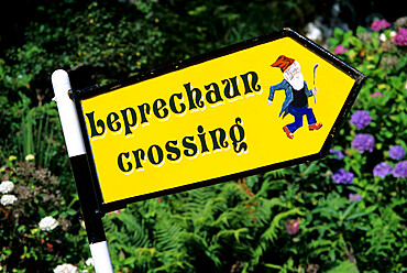 Leprechaun crossing signpost, County Kerry, Munster, Republic of Ireland, Europe