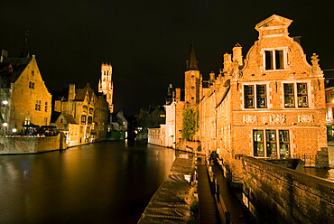 Rozenhoedkaai (Rosary Quay) and the Belfry at night, Bruges, UNESCO World Heritage Site, West Vlaanderen (Flanders), Belgium, Europe