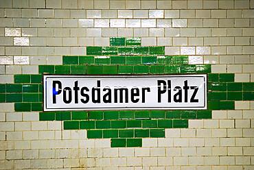 Potsdamer Platz underground sign, Berlin, Germany, Europe
