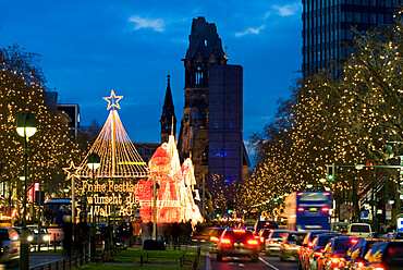 Christmas lights leading up to the Kaiser Wilhelm Memorial Church, Berlin, Germany, Europe