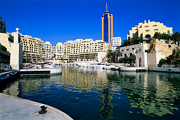 Portomaso Marina with exclusive apartments, Paceville, St. Julian`s, Malta, Mediterranean, Europe