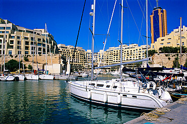 Portomaso Marina with exclusive apartments, Paceville, St. Julian`s, Malta, Mediterranean, Europe