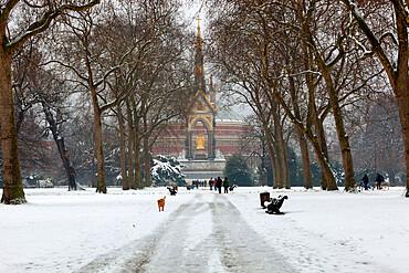 The Albert Memorial and Royal Albert Hall in winter, Kensington Gardens, London, England, United Kingdom, Europe