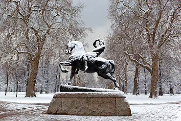 Physical Energy statue in winter, Kensington Gardens, London, England, United Kingdom, Europe
