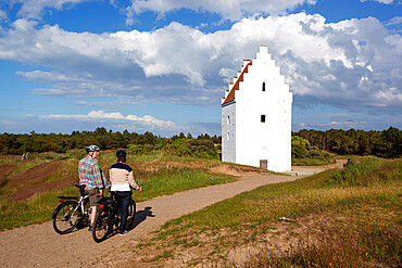 Den Tilsandede Kirke (Buried Church) buried by sand drifts, Skagen, Jutland, Denmark, Scandinavia, Europe