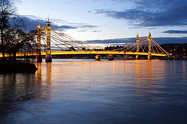 Albert Bridge over the River Thames, Chelsea, London, England, United Kingdom, Europe
