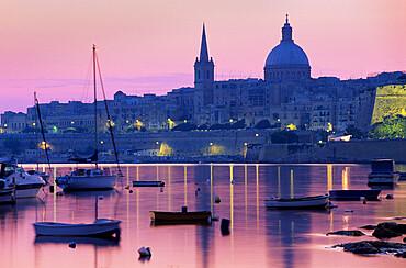 Sunrise over Msida Creek to Valletta with Dome of Carmelite Church, Valletta, Malta, Mediterranean, Europe