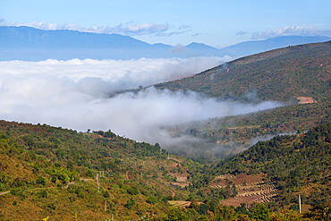 Morning fog over Kengtung and Shan hills on road to Loimwe, near Kengtung, Shan State, Myanmar (Burma), Asia