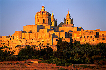 St. Paul's Cathedral and city walls, Mdina, Malta, Mediterranean, Europe
