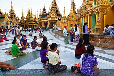 Devotees praying, Shwedagon pagoda, Yangon (Rangoon), Yangon Region, Myanmar (Burma), Asia