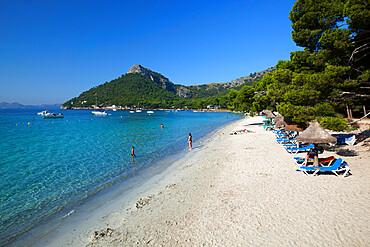 Platja Formentor, near Port de Pollenca (Puerto Pollensa), Mallorca (Majorca), Balearic Islands, Spain, Mediterranean, Europe