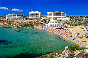Sandy beach with Radisson SAS Hotel, Golden Bay, Malta, Mediterranean, Europe