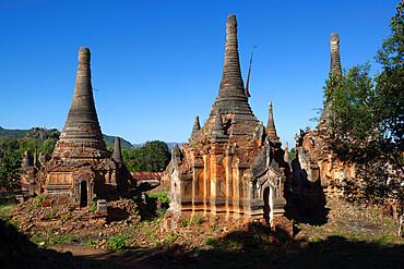 Shwe Inn Thein Pagoda, containing 1054 17th and 18th century Zedi, Inle Lake, Shan State, Myanmar (Burma), Asia
