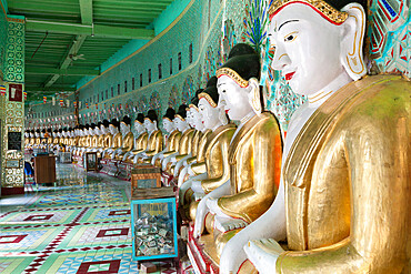Umin Thounzeh (30 Caves) Pagoda, containing 45 Buddha statues, Sagaing Hill, Sagaing, near Mandalay, Myanmar (Burma), Asia