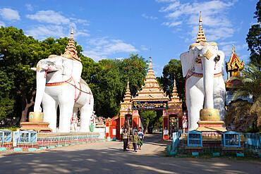 Elephant statues at entrance to the Thanboddhay Paya (pagoda), near Monywa, Monywa Region, Myanmar (Burma), Asia