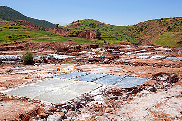 Salt evaporation ponds, Ourika Valley, Atlas Mountains, Morocco, North Africa, Africa