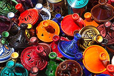Colourful tajines, Essaouira, Atlantic coast, Morocco, North Africa, Africa