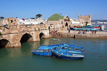 Fishing boats below the ramparts of the old fort, Essaouira, Atlantic coast, Morocco, North Africa, Africa