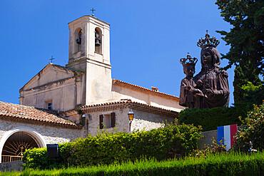 Saint Hospice chapel with statue of Madonna and Child, Saint-Jean-Cap-Ferrat, Provence-Alpes-Cote d'Azur, Provence, France, Europe