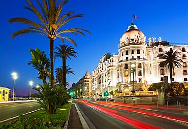 Le Negresco hotel along Promenade des Anglais, Nice, Provence-Alpes-Cote d'Azur, French Riviera, Provence, France, Europe