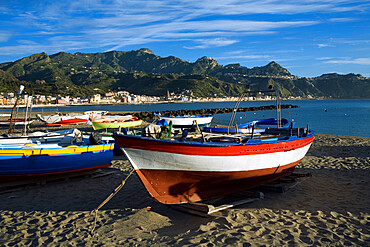 Fishing boats on beach, Giardini Naxos, Sicily, Italy, Mediterranean, Europe