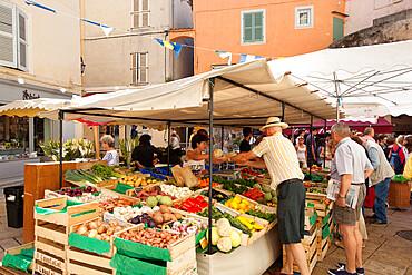 Local market, Place aux Herbes, Saint-Tropez, Var, Provence-Alpes-Cote d'Azur, Provence, France, Europe