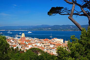 View over old town, Saint-Tropez, Var, Provence-Alpes-Cote d'Azur, France, Mediterranean, Europe