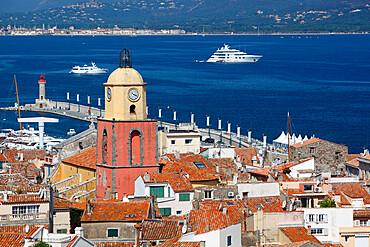 View over old town, Saint-Tropez, Var, Provence-Alpes-Cote d'Azur, Provence, France, Mediterranean, Europe