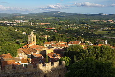 View over old village from castle, Grimaud, Var, Provence-Alpes-Cote d'Azur, Provence, France, Europe