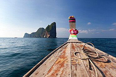 Long-tail boat and Phi Phi Lay Island, Krabi Province, Thailand, Southeast Asia, Asia