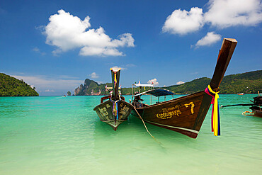 Long-tail boats in Ao Dalam bay, Koh Phi Phi, Krabi Province, Thailand, Southeast Asia, Asia