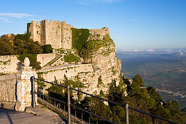 Sunset over the Castello di Venere, Erice, Sicily, Italy, Europe