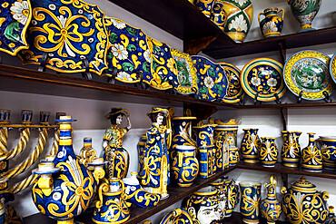 Locally made ceramics, Caltagirone, Sicily, Italy, Europe