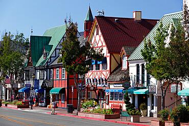 Danish-styled street, Solvang, Santa Ynez Valley, Santa Barbara County, California, United States of America, North America