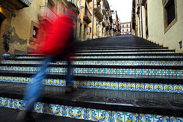 La Scala 142 steps with hand painted ceramic tiles, Caltagirone, Sicily, Italy, Europe