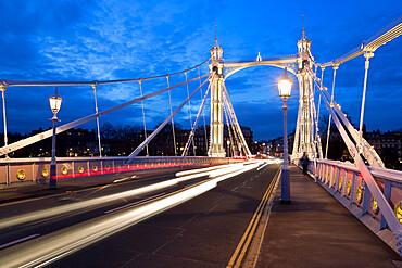 Albert Bridge at night, Chelsea, London, England, United Kingdom, Europe