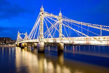 Albert Bridge and River Thames at night, Chelsea, London, England, United Kingdom, Europe