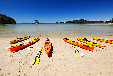 Kayaks on beach, Torrent Bay, Abel Tasman National Park, Nelson region, South Island, New Zealand, Pacific