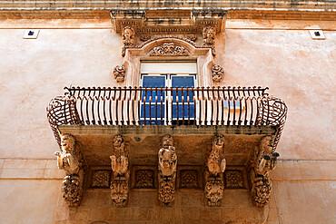 Baroque balcony, Noto, Sicily, Italy, Europe