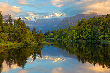 Lake Matheson with Mount Cook and Mount Tasman, West Coast, South Island, New Zealand, Pacific