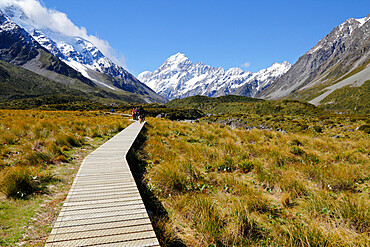 Boardwalk on Hooker Valley Trail with Mount Cook, Mount Cook National Park, UNESCO World Heritage Site, Canterbury region, South Island, New Zealand, Pacific