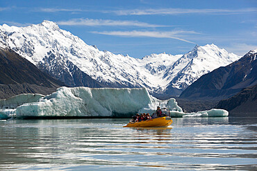 Boat tour with icebergs, Tasman Lake, Mount Cook National Park, UNESCO World Heritage Site, Canterbury region, South Island, New Zealand, Pacific