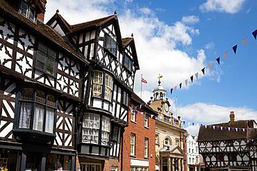 Tudor buildings and the Buttercross, High Street, Ludlow, Shropshire, England, United Kingdom, Europe