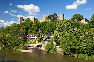 Ludlow Castle above the River Teme, Ludlow, Shropshire, England, United Kingdom, Europe