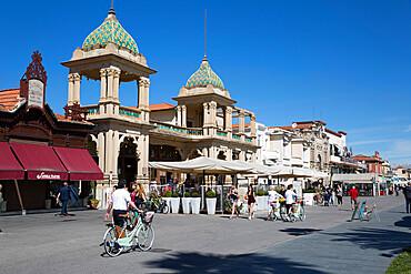 Gran Caffe Margherita and Art Nouveau buildings along seafront promenade, Viareggio, Tuscany, Italy, Europe