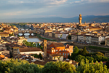 View over Florence with the Ponte Vecchio and Palazzo Vecchio from Piazza Michelangelo, Florence, UNESCO World Heritage Site, Tuscany, Italy, Europe