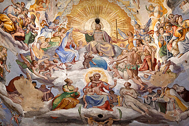 Dome fresco of The Last Judgement, by Giorgio Vasari and Federico Zuccari, inside the Duomo, Florence, UNESCO World Heritage Site, Tuscany, Italy, Europe
