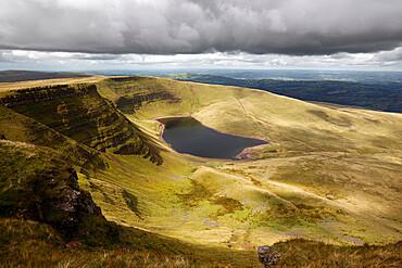 View of Llyn y Fan Fach, Black Mountain, Llanddeusant, Brecon Beacons National Park, Carmarthenshire, Wales, United Kingdom, Europe
